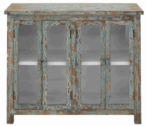 Multi Shelf Two Door Antique Wood and Glass Cabinet Brand Benzara