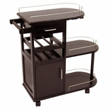 Multi Storage Dark Espresso Entertainment Cart with Cabinet and Drawer by Winsome Woods