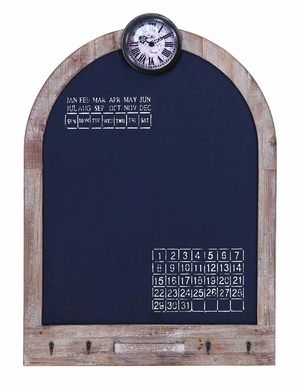 Multi Use Arched Black Board With Convenient Clock And Calendar Brand Woodland