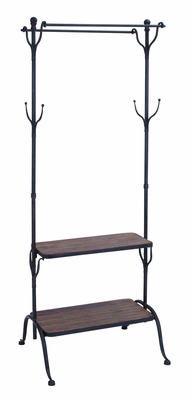 Multi Use Clothing Rack With Multiple Hooks And Shelves Brand Woodland