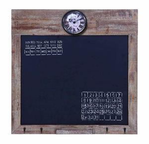 Multi Use Square Black Board With Convenient Clock And Calendar Brand Woodland