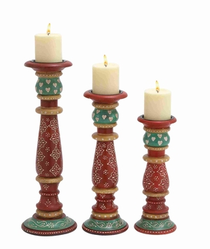 Multicolor Wooden Candle Holder in Different Sizes in Set of 3 Brand Woodland