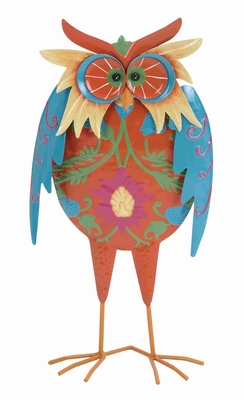 "Multicolored 16"" H Metal Owl with 100% Iron for Home Decor Brand Woodland"