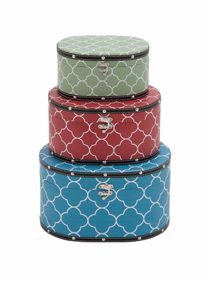 Multicolored Attractive Patterned Wood Vinyl Box by Woodland Import