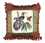 Multicolored Bright Shaded Great Hornbill Petit-Point Pillow by 123 Creations