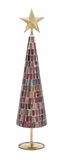 """Multicolored Metal Glass Xmas Tree w/ Mosaic Design 19""""H, 4""""W (Small) by Woodland Import"""