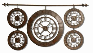 Multiple Time Zones Wall Clock with Hand Forged Metal Brand Uttermost