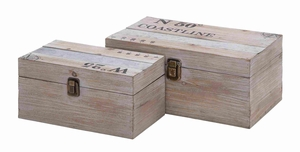 Multipurpose and Spacious Useful Wooden Metal Box Set of 2 Brand Woodland