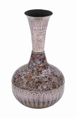 Decorative Long Neck Metal Glass Vase With Mosaic Design (Small) - 23836 by Benzara