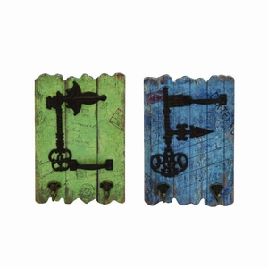 Stylish Wood Metal Hooks with Rustic Imprinted Stamps & Writings, Set of 2 - 34914 by Benzara