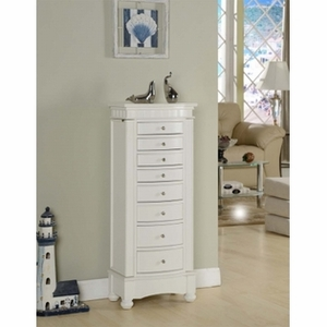 Muscat 8 Drawer Jewelry Armoire with Neat Lines in White Finish Brand Nathan