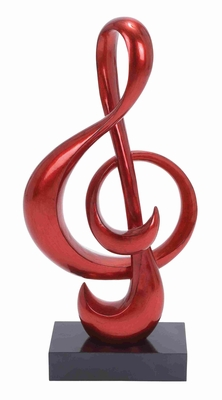 Musical Note Shaped Sculpt in Red with Polystone Foil Finish Brand Woodland