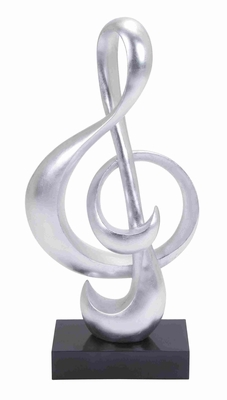 Musical Note Shaped Sculpt in Silver with Polystone Foil Finish Brand Woodland