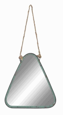 Muted Green Color Metal Rope Wall Mirror with Distressed Finish Brand Woodland