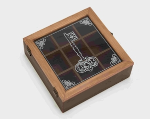Mysterious Key Themed Wooden Glass Box Brand Benzara