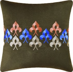 Nadia Embroidered Brown Pillow 18 x18 Inches Brand C&F