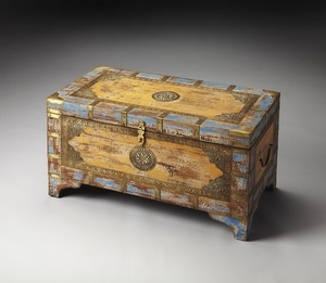Nador Painted Brass Inlay Storage Trunk by Butler Specialty