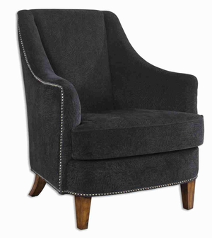 Nala Style Black Arm Chair With Pecan Furnished Legs Brand Uttermost