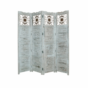 Nantucket Screen Solid Cedar Wood with Artistic Design in Blue Brand Screen Gem