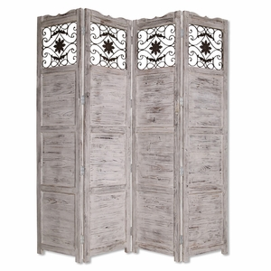Nantucket Screen Solid Cedar Wood with Artistic Design in White Brand Screen Gem