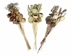 Natural Botanicals Dry Floral Decor Bouquet in Brown - Set of 3 Brand Woodland