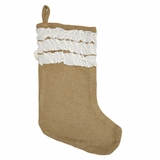 Natural Burlap & Creme Voile Ruffled Stocking 11x15 - 18368 by VHC Brands
