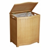 Natural Finished Bowed Front Laundry Wood Hamper with Interior Bag by Oceanstar