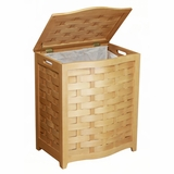 Natural Finished Bowed Front Veneer Laundry Wood Hamper with Interior Bag by Oceanstar