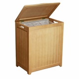 Natural Finished Rectangular Laundry Wood Hamper with Interior Bag by Oceanstar