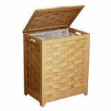 Natural Finished Rectangular Veneer Laundry Wood Hamper with Interior Bag by Oceanstar