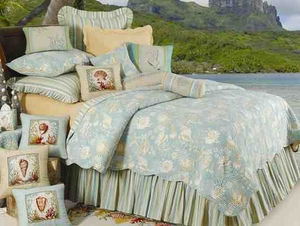 Natural Shells Coastal Nautical Luxury Quilt Queen  Bedding Ensembles Brand C&F