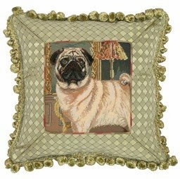 Natural Unique Styled Pug Petit Point Pillow by 123 Creations