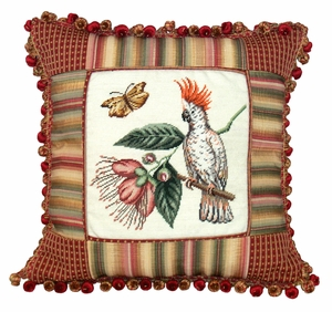 Naturalistic Patterned Cockatoo Petit Point Pillow by 123 Creations