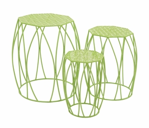 Nature's Set of 3 Metal Green Plant Stand by Woodland Import