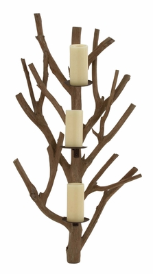 Nature's Wood Metal Candle Sconce by Woodland Import