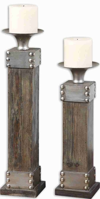 Naturla Wood Candle Holder With Chestnut Stain and Silver Accents Brand Uttermost