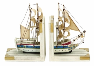Nautical Book Ends As White Trade Ship In a Grand Ocean Adventure Brand Woodland