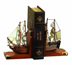 Nautical Book Ends As Wood Trade Ship In a Grand Ocean Adventure Brand Woodland