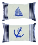 Nautical Decor Assorted Fabric Pillow in Blue - Set of 2 Brand Woodland
