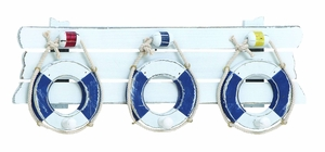 Nautical Lifebelt Hook in Blue  and White Style - Great for Coastal Villa Décor Brand Woodland