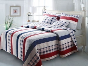Nautical Stripes Cotton Quilt, Queen Set, 90 Inch x 90 Inch by Greenland Home Fashions