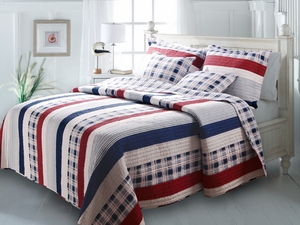 Nautical Stripes Cotton Quilt Twin Set, 68 Inch X 88 Inch Brand Greenland Home fashions