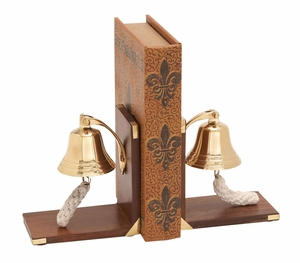 Nautical Themed Bookend Pair With Ship Bell Brand Woodland
