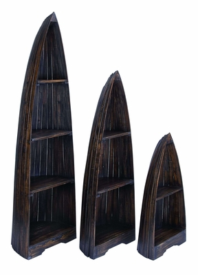 Nautical Wooden Boat D�cor with Distinctive Design in Distress Finish - Set of 3 Brand Woodland