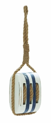 Nautical Wooden Doorstop in White and Blue Finish -Coastal Villa D�cor Brand Woodland