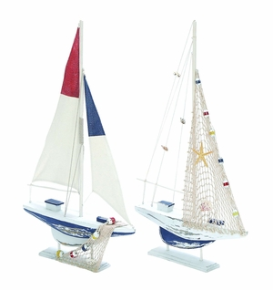 Assorted Wooden Sailing Boat In Red And Blue Finish - Set Of 2 - 38725 by Benzara