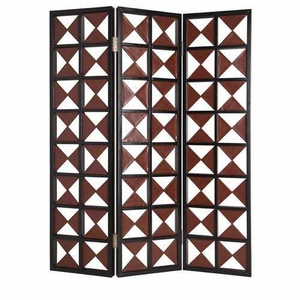 Navarro 3 Panel Screen Crafted with Leather Wrapped Triangles Brand Screen Gem