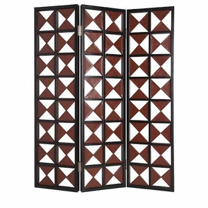 Navarro 3 Panel Screen Handmade with Leather Wrapped Triangles Brand Screen Gem