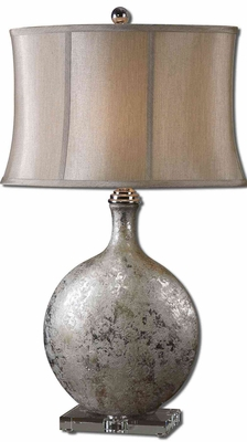 Navelli Silver Ceramic Table Lamp with Crystal Foot Brand Uttermost