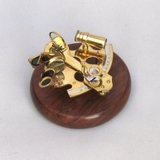 Navigational Sextant in Brass Finish with Wooden Base by IOTC